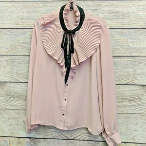 Haute Monde Womens Shirt Pink Sheer Button